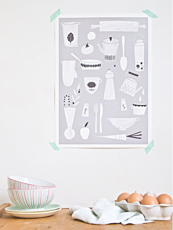 Kitchen print  A3 by studiomeez on Etsy, €22.50