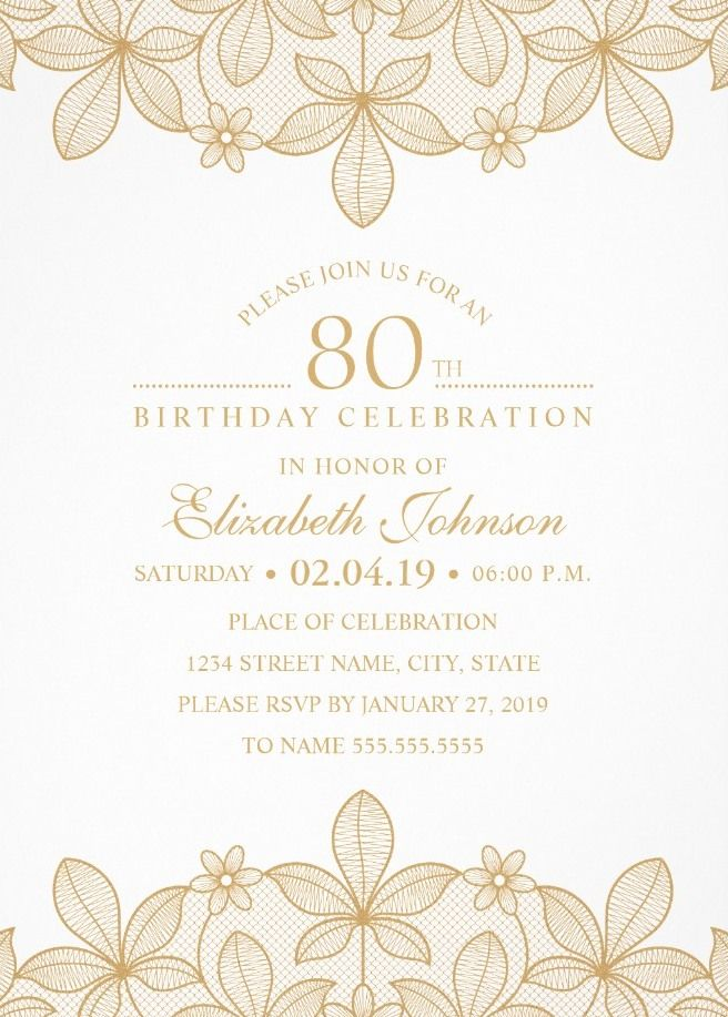 golden lace 80th birthday invitations elegant luxury invitation