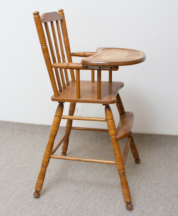 RESERVED For Sheena Vintage Wooden High Chair Oak
