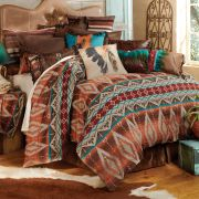 I'm in awe of how beautiful this western bed set is! All the colors, brown, turquoise, orange!