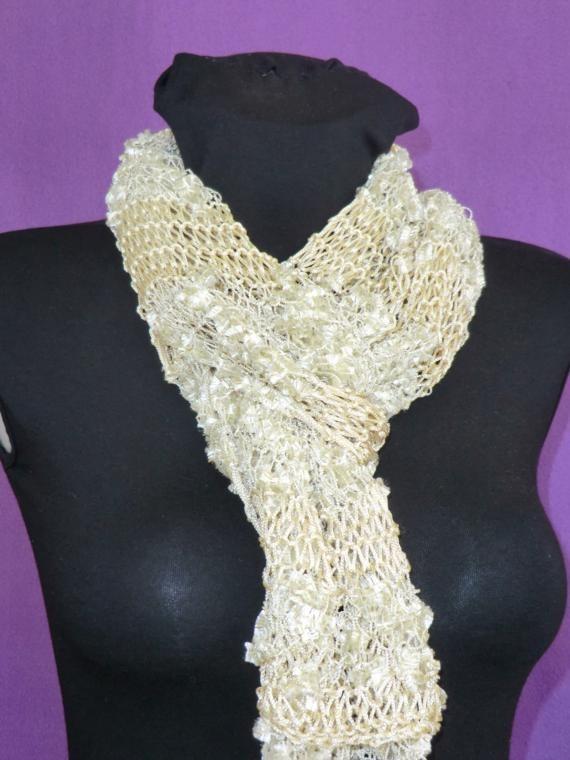 Elegant golden beige scarf for women handmade knitted by craftysou, $30.00