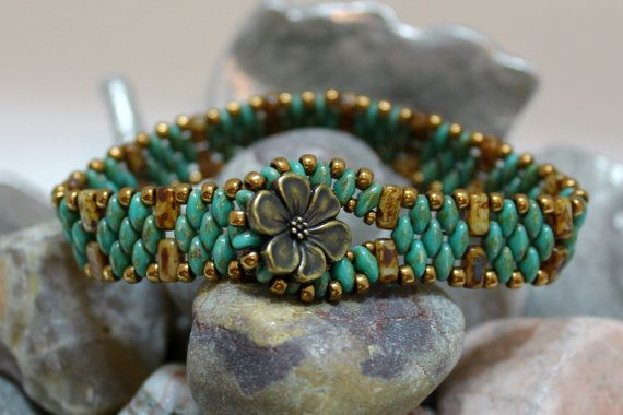 Czechmate mattoni e Superduo Bracciale; Tallone tessitura; Bracciale turchese; Bracciale a Fascia; Bracciale di piastrelle; Bracciale perle