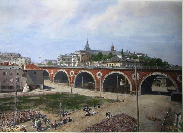 Warszawa, most Aleksandryjski, potocznie Kierbedzia i targowisko na Mariensztacie