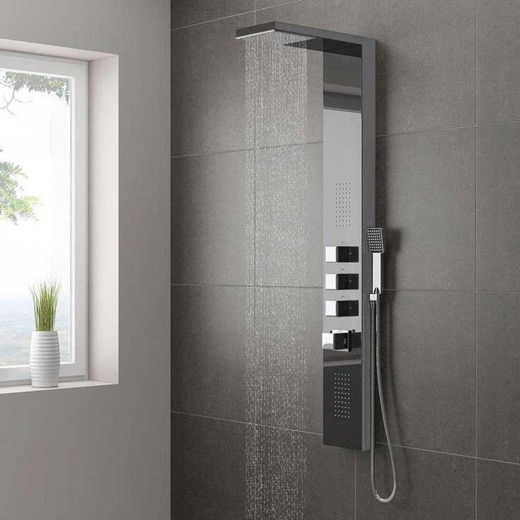 Matthew priced this one   Discover the beautifully crafted Milan Modern Dark Chrome Tower Shower Panel…