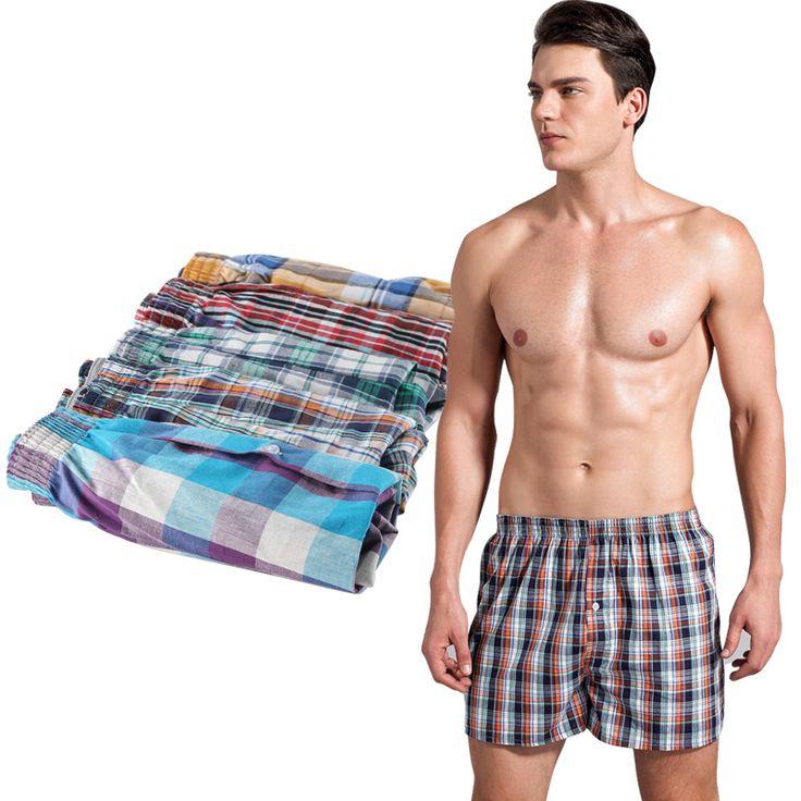 4pcs/Lot Loose Shorts male panties  Cotton  Plaid  men underwear  Cuecas boxers  Shorts Underpants
