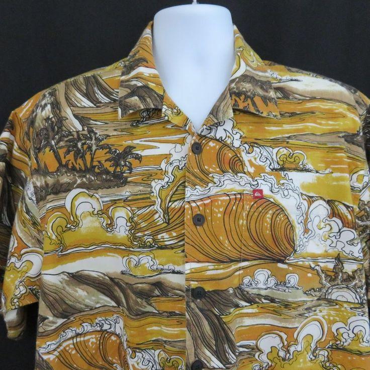 Vintage Quiksilver L Gold Brown Surf Breaking Waves Hawaiian Aloha Shirt #Quiksilver #Hawaiian