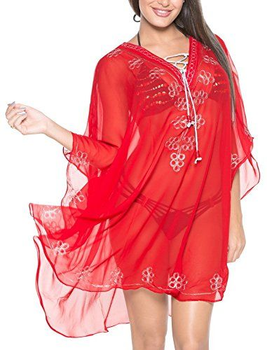 La Leela Red Embroidered Sheer Lightweight Chiffon Tunic Bikini Cover Up Top. Do YOU want COVER UPS in other colors Like Red | Pink | Orange | Violet | Purple | Yellow | Green | Turquoise | Blue | Teal | Black | Grey | White | Maroon | Brown | Mustard | Navy ,Please click on BRAND NAME LA LEELA above TITLE OR Search for LA LEELA in Search Bar of Amazon. US Size : From Regular 14 (L) TO Plus Size 30W (5X) ➤ UK SIZE : FROM REGULAR 14 (M) TO 32 (XXXXL) ➤ BUST : 58 Inches [ 147 cms ]➤ Length…
