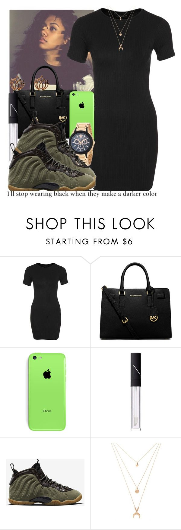 """""""Kittens"""" by jjaysuave ❤ liked on Polyvore featuring New Look, MICHAEL Michael Kors, Versace, NARS Cosmetics, NIKE, Forever 21, Melissa Odabash and Kaylee"""