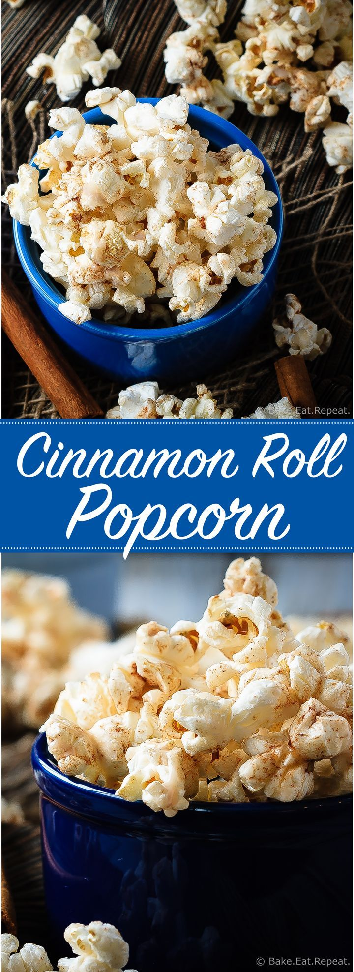 A great way to change up the usual movie night snack, this cinnamon roll popcorn is a wonderful sweet and salty snack that everyone will love!