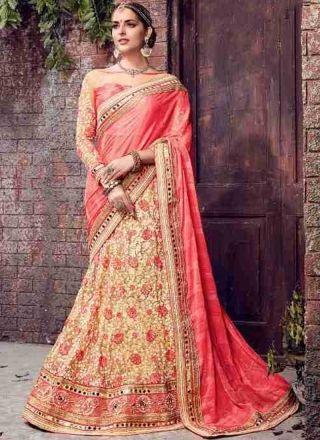 Pink Beige Embroidery Work Chiffon Net Designer Fancy Wedding Lehenga Saree   #Wedding #Bridal #designer #Saree       http://www.angelnx.com/Sarees