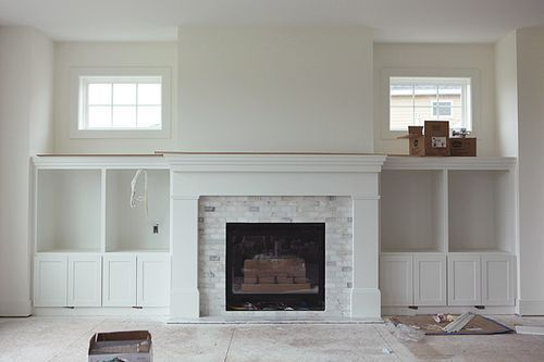 fireplace subway tile | Fireplace with marble subway tiles