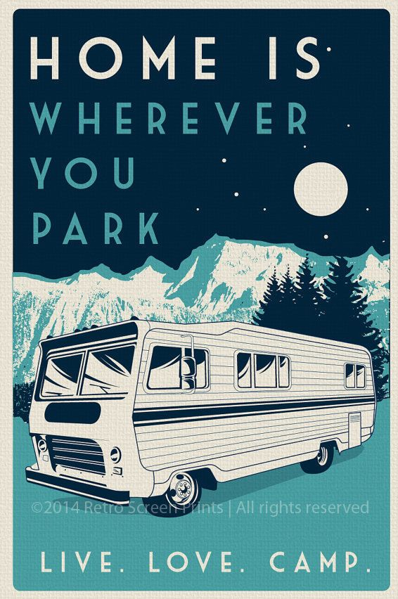 this is 100% original artwork vintage retro camping silk screen print poster live love camp camper night sky - etsy hand screen printed 2