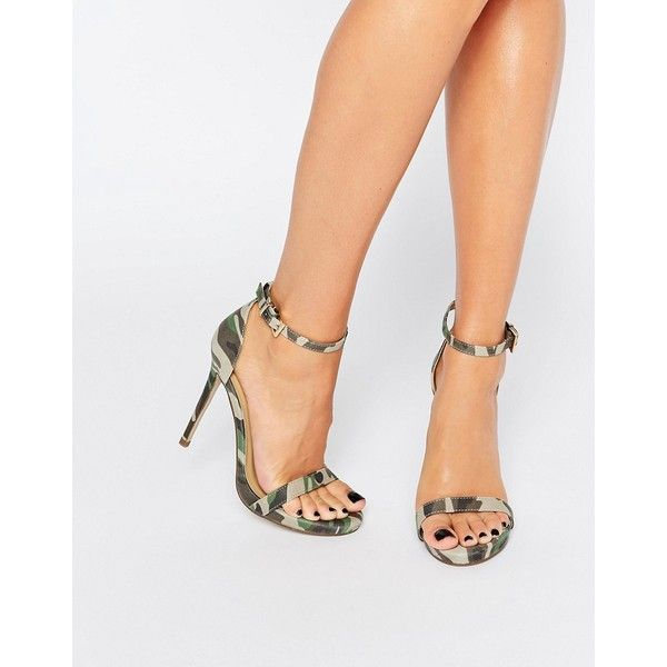 Missguided Camo Heeled Sandal ($33) ❤ liked on Polyvore featuring shoes, sandals, green, strappy shoes, ankle strap sandals, heeled sandals, camouflage sandals and camo sandals