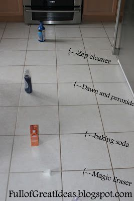 BEST GROUT CLEANING METHOD  This blogger actually tested four grout cleaning methods that people rave about on Pinterest.  Photographed side by side comparison of:  Dawn dish soap + peroxide   Magic eraser    Baking soda and water/lemon juice    Zep brand grout cleaner