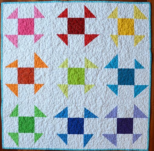 Liberated wonky churn-dash Baby Quilt - Tutorial (also tutorial for wonky star quilt back, which is at least as nice as the front