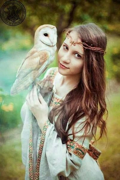 Lady with an owl.