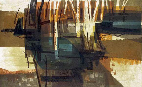 Metropolis Gallery - Kenneth Jack, printmaker 'Billabong' linocut