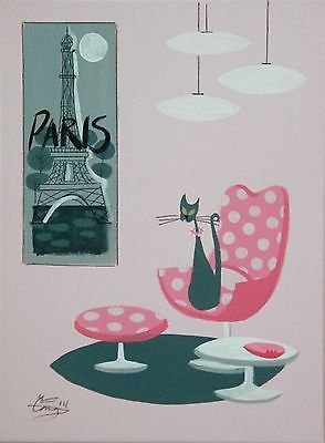 EL GATO GOMEZ PAINTING RETRO PARIS FRANCE KITSCH 50S MID CENTURY MOD CAT EAMES