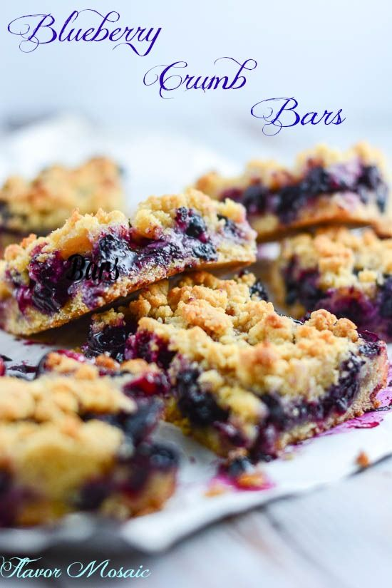 Blueberry Crumb Bars - Flavor Mosaic - are a perfect summer dessert for a potluck or picnic.  #blueberries #dessert