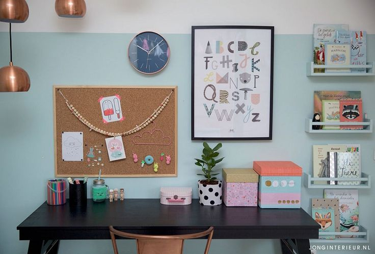 Werk- lees- en speelplek   Interieurstylist Stephanie de Jong #Meisjeskamer #Girlsroom #pastel door JONGInterieur.nl #Lostandfoundonline.nl #Tellkiddo #EefLillemor #mint #oudroze #prikbord #Lapinandme #bureau #Karwei #zwart #lamp #Zuiver #rosé #koper #ikea #boekenplank #poster #AnnyWho #kinderkamer