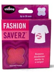 Fashion Saverz  Easily swipe away telltale deodorant marks.    This special sponge wipes away those ghostly white deodorant stains from clothes. (It tackles pet hair too.)    Cost: $5 at Zizibizy.com