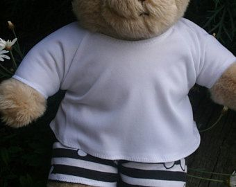 Bear clothes white and black with large floral print