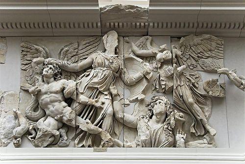 Athena battling a giant (Alkgoneos). Altar of Zeus and Athena at Pergamon.