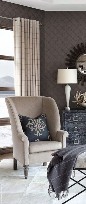 like the simple style of chair and great height for in front of window. curtain style looks good too.