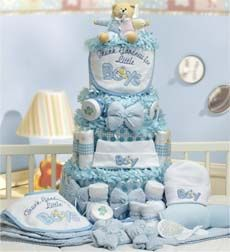 """Deluxe Baby-Cakes Boy Essentials  A triple layer of deluxe baby boy gifts takes the cake in newborn essentials. New parents will truly welcome this generous collection of indispensable necessities: disposable diapers, a hooded terry towel, an embroidered bib and many other everyday baby must-haves.Measures 15""""H x 15""""W x 19""""L Attr...  http://click.linksynergy.com/fs-bin/click?id=nnfswgcfYLA=234050.987=2=0"""
