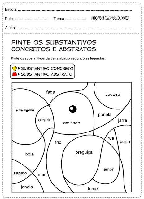Pinte os substantivos abstratos de vermelho e os substantivos concretos de amarelo