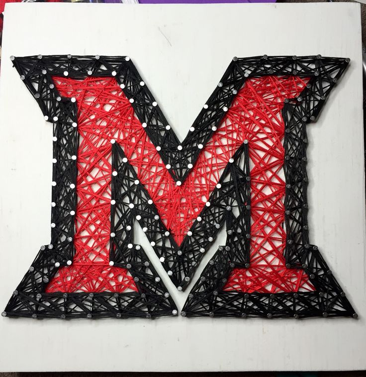 "Miami University Oxford Ohio Red Black M 9"" x 9"" Custom String Art"