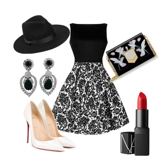 """#blackandwhite"" by sanikova on Polyvore featuring Ciner, Jimmy Choo, Lack of Color, Christian Louboutin and NARS Cosmetics"