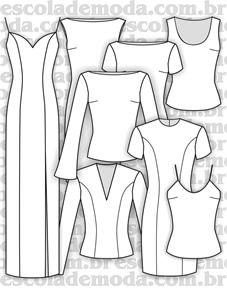 Moldes de regatas, blusas e vestidos tubo                                                                                                                                                                                 Mais