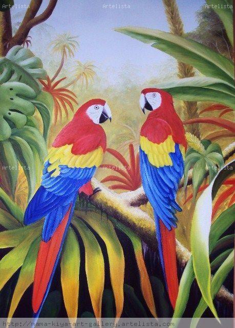 7 mejores imgenes de cuadros papagayos en Pinterest  Loros