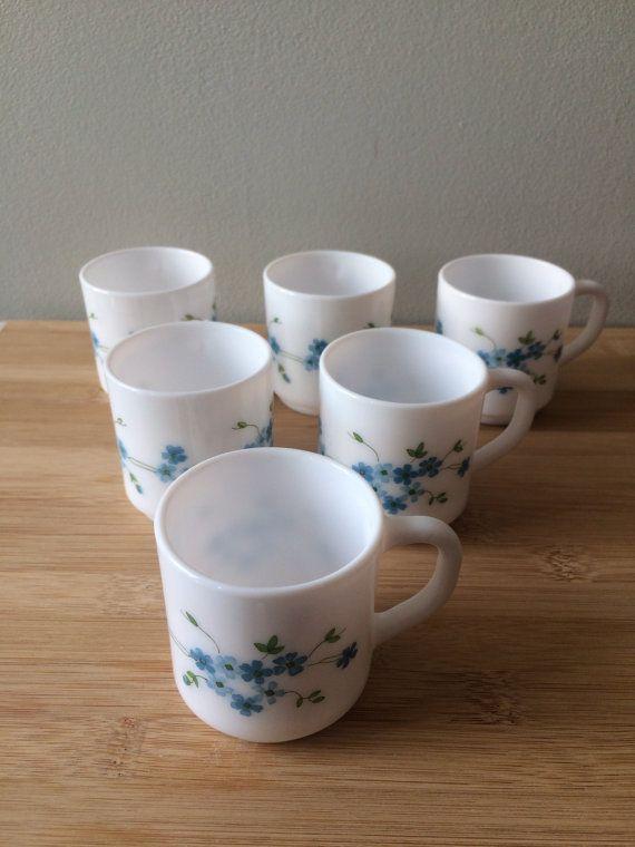 6 TASSES à café fleuries |Arcopal | Myosotis bleues Veronica | Vintage retro | café thé moka