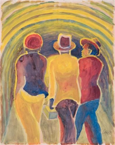 Gerard Sekoto (South African: 1913 – 1993) | Three Men Walking (1940)