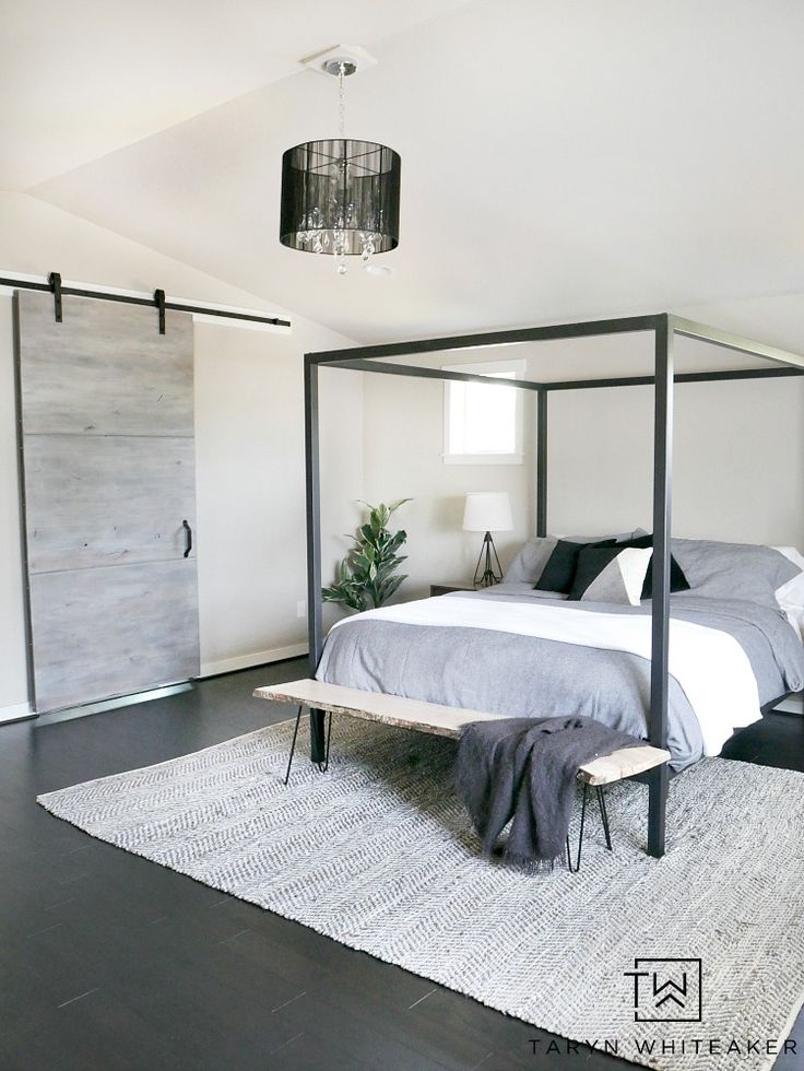 Create A Modern Rustic Bedroom By Incorporating Clean Lines While Mixing  Lots Of Texture And Materials Such As Wood And Metal. This Black Steel  Canopy Bed ... Great Ideas