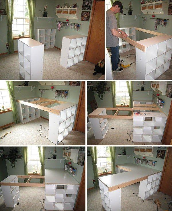 Prostorný stůl si nemusíte kupovat. Přinášíme vám inspiraci, jak si sestavit velkou pracovní plochu, která zároveň nabízí organizační systém každému na míru. Stačí pospojovat několik rozličných kusů nábytku deskou a máte hotovo. Zdroj: littlevws.blogspot.com // // //