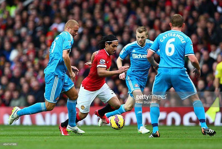 Radamel Falcao Garcia of Manchester United breaks through the Sunderland defense