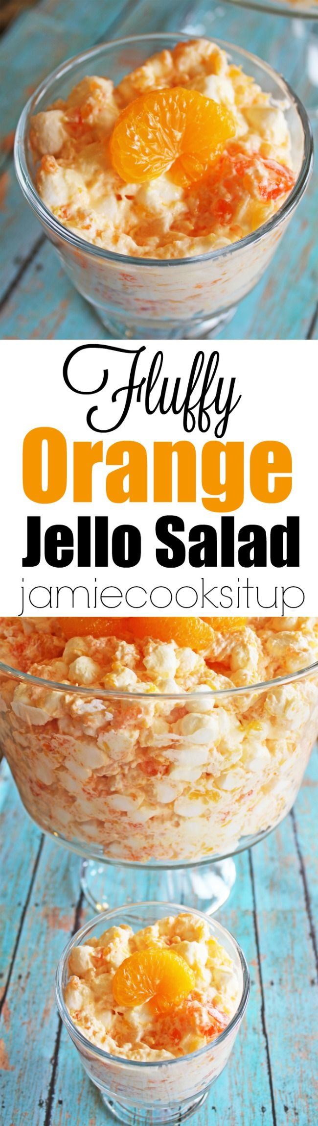 Fluffy Orange Jello Salad from Jamie Cooks It Up! Made with mostly pantry ingredients, this kid loving salad is a perfect pot luck dish for spring and summer. Add it to your Easter rotation!