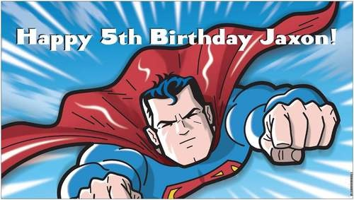 DC Comics Custom Vinyl Superman Birthday Party Banner + Child's Name - A beautiful showpiece for your child's birthday and a wonderful keepsake. Dimensions: 3' x 1.6' Printed on high quality, white 10oz. vinyl, which is flexible material with a matte finish and is fade-resistant, tear-resistant, and flame-retardant. Banners are professionally printed and are shipped rolled. Your banner will never be folded, so it will have no creases. $29.95
