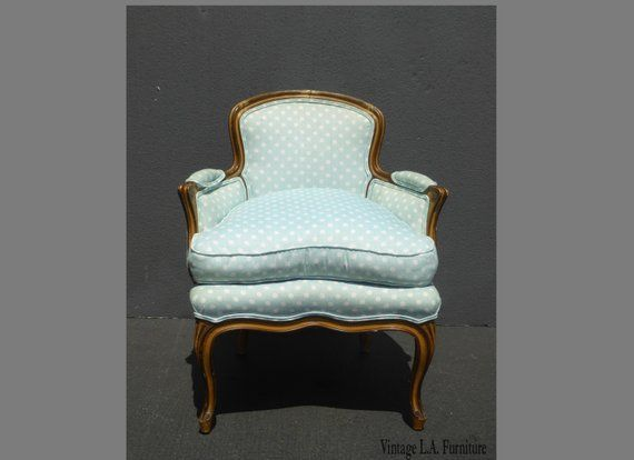 Vintage French Provincial Baby Blue Accent Chair W Down Cushion