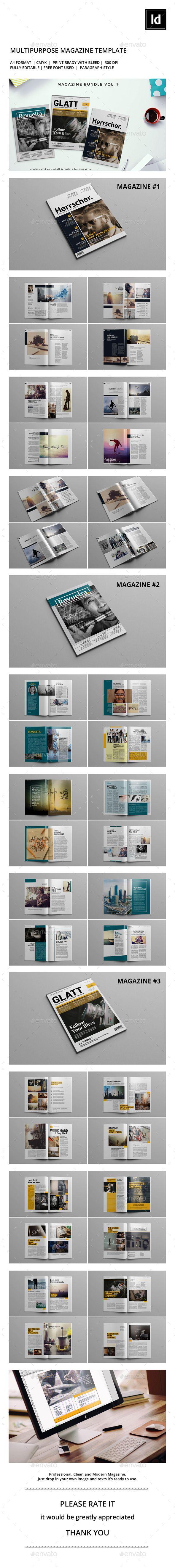 Magazine Template InDesign INDD Bundle #design Download: http://graphicriver.net/item/magazine-bundle-v1/13428139?ref=ksioks