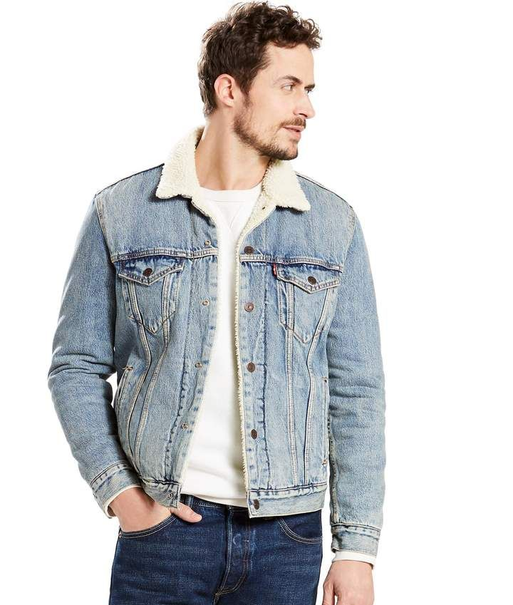 Levi S Levis Men S Sherpa Collar Denim Trucker Jacket Denim Jacket Men Outfit Denim Jacket Men Trucker Jacket Outfit