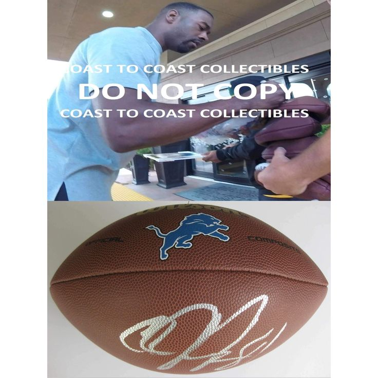 Calvin Johnson, Detroit Lions, Signed, Autographed, Lions Logo Football, a COA with the Proof Photo of Calvin Signing the Football Will Be Included