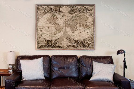 Old World Map Baptiste 1708 Historic Map Antique Restoration