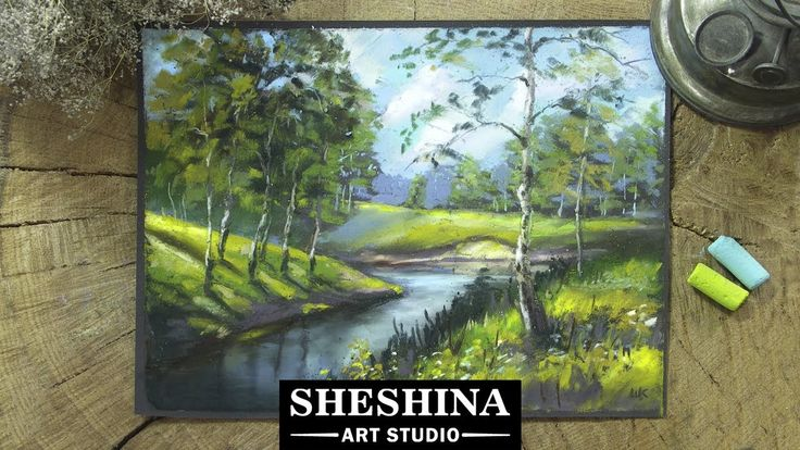 How to draw a landscape with birches with soft pastels  Sheshina Ekaterina