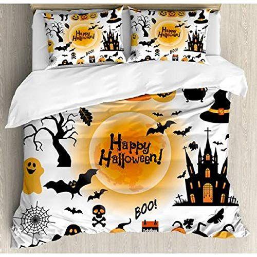 3 PC Halloween Quilt Set Queen or King Pumpkins Skulls Witch Hats Bats Spiderweb