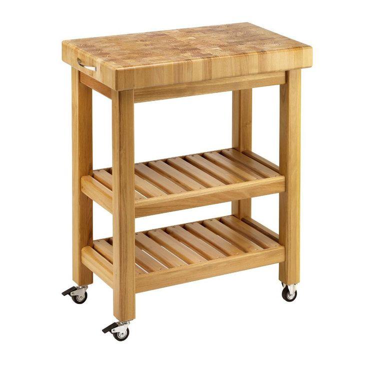 Carrello da cucina in legno massello 60x40xh85 cm con tagliere in legno | Stilcasa design Legno | Stilcasa.Net: carrelli da portata