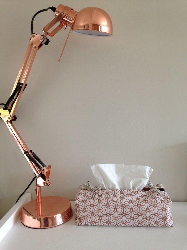 Vintage, cuivré, étoiles, blanc cassé. Housse de boîte à mouchoirs rectangle. Pour décorer votre intérieur. Inspiration scandinave. Beaucoup plus design.